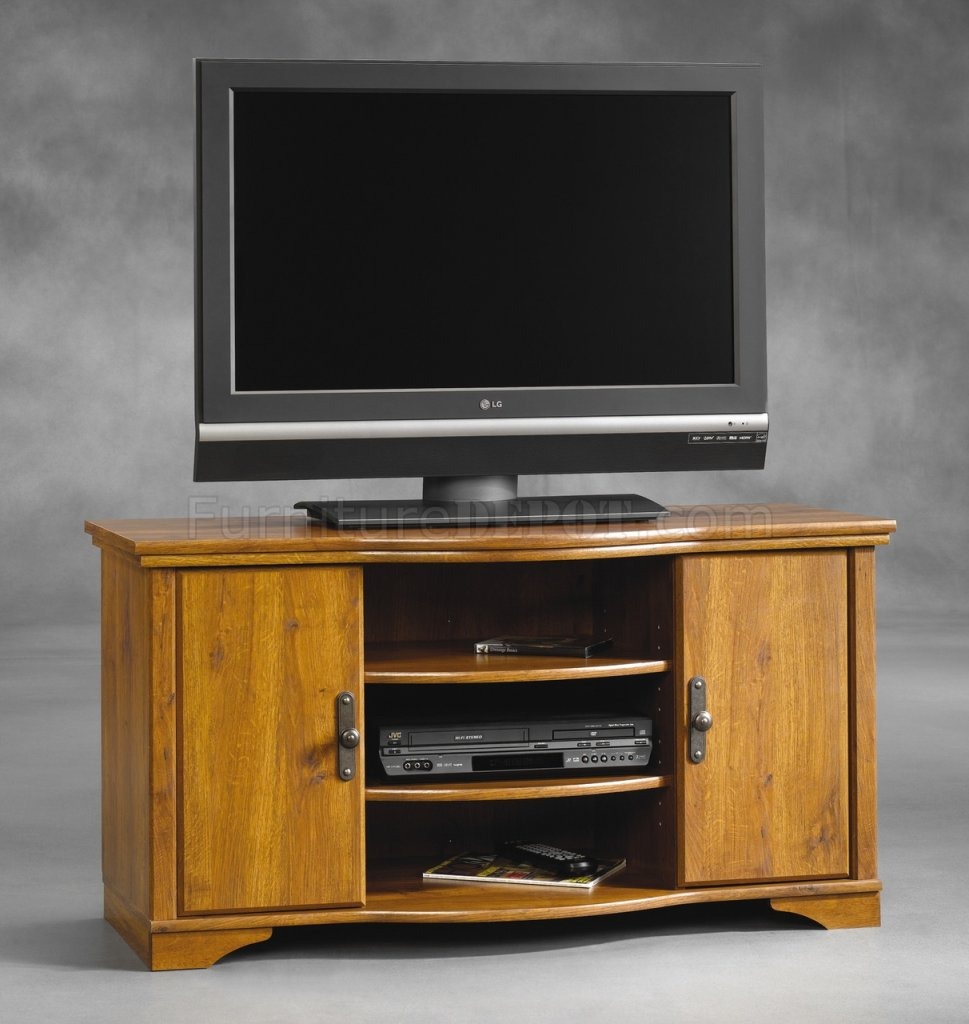 Oak Finish Modern TV Stand wDoors  Shelves