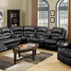 Sectional Sofas With Recliners Leather Sofa Storage Chaise 9171/9241 Reclining In Black Bonded