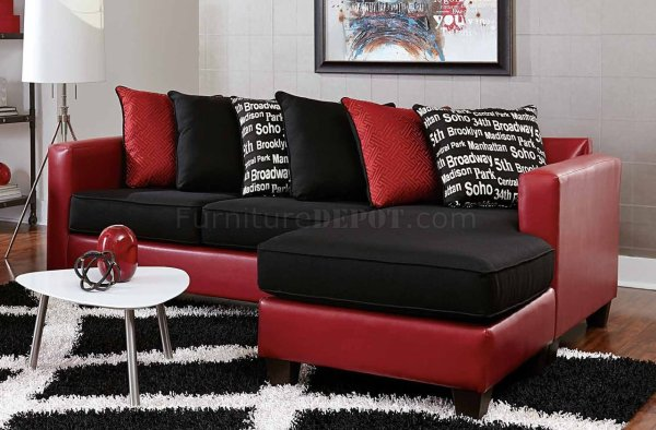3006 Sectional Sofa In Red Bicast & Black Microfiber