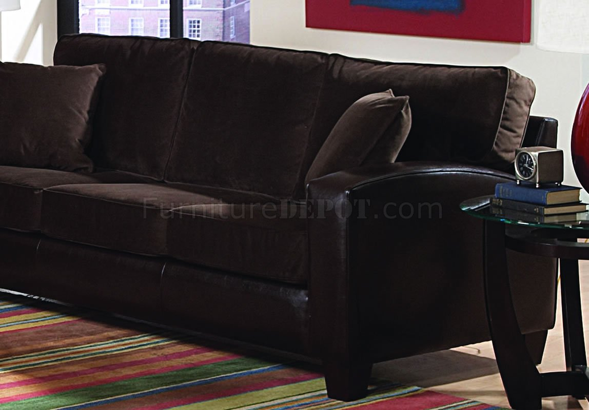 Chocolate Brown Velvet Living Room with Dark Bycast Base