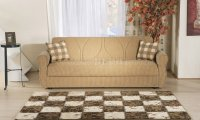 Mustard Fabric Contemporary Living Room Sleeper Sofa w/Storage