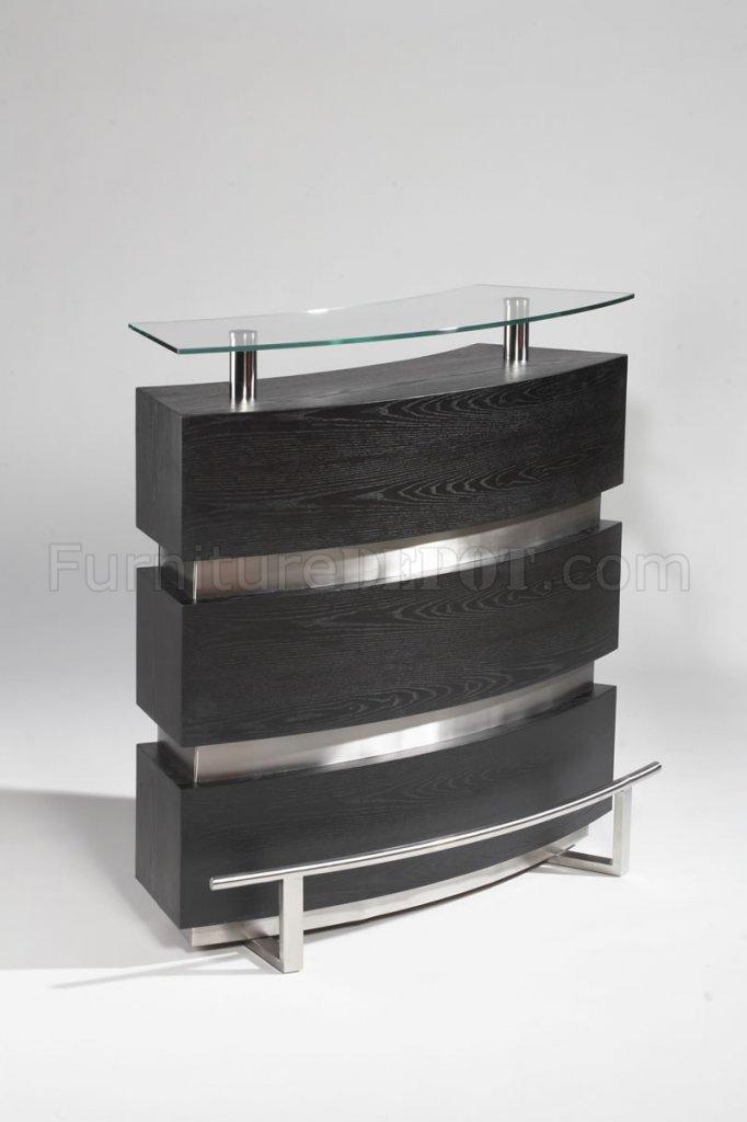 Gloss Black  Silver Tone Modern Bar Unit wGlass Top