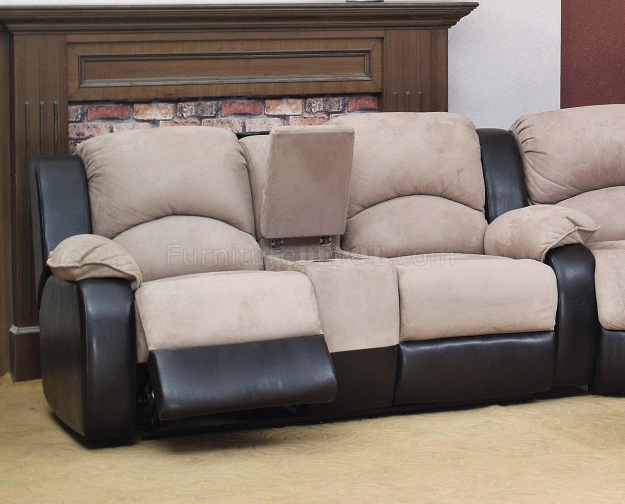 Beige Fabric Modern Reclining Sectional Sofa wOptional Chair