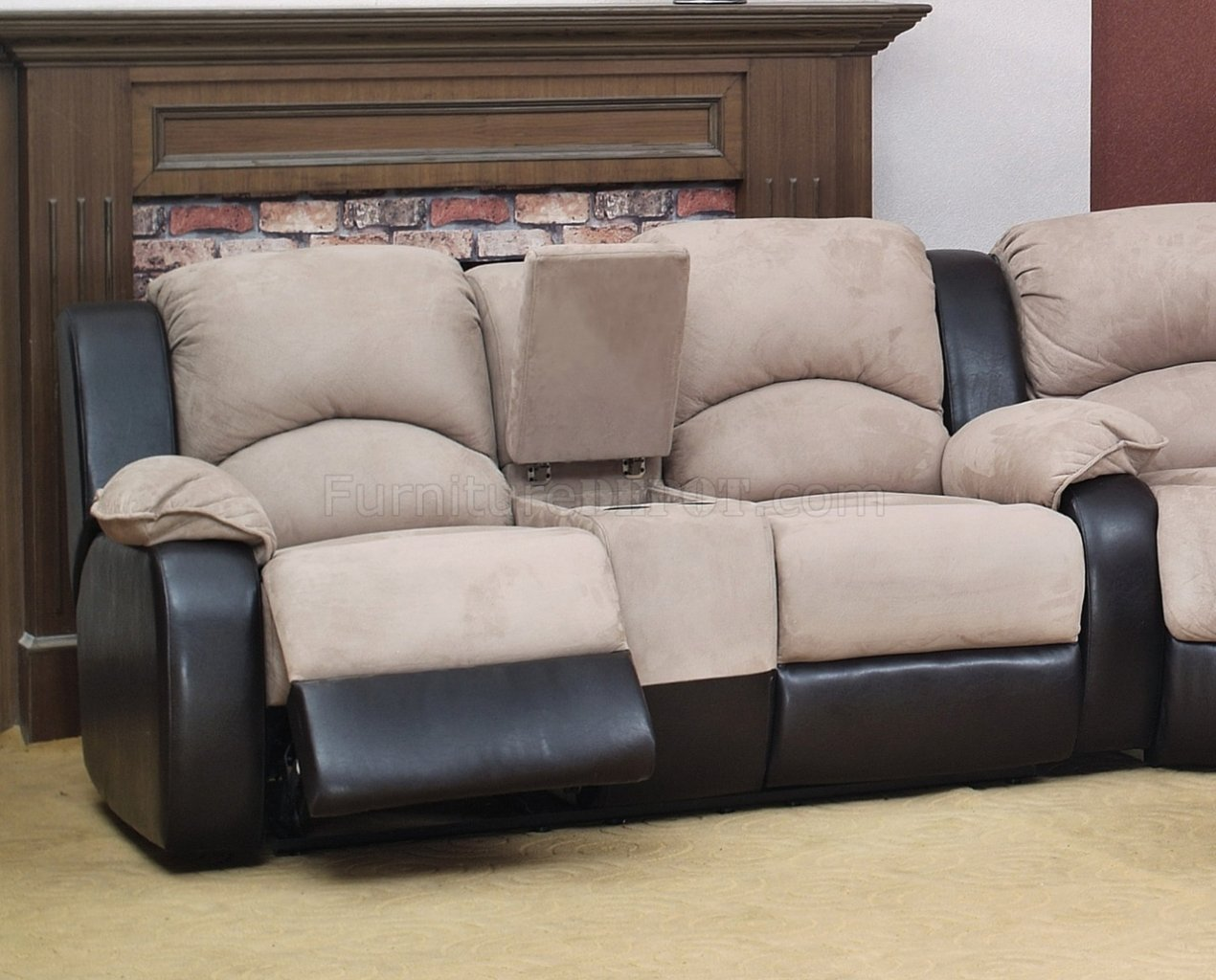 fabric sectional sofa with recliner rowe bed mattress beige modern reclining w optional chair
