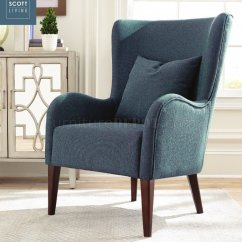 Dark Teal Accent Chair Wing Back Slip Cover 903370 Scott Living Coaster Set Of 2 In Blue By