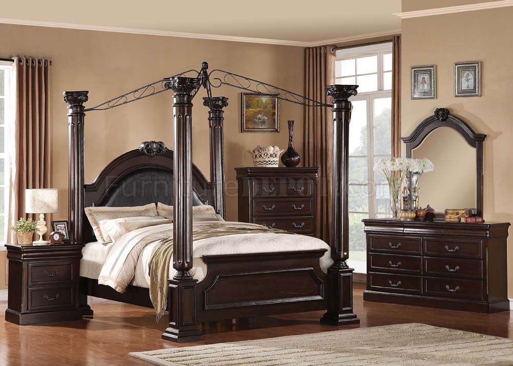 21340 Roman Empire II Bedroom in Dark Cherry by Acme wOptions