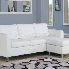 Vinyl Sectional Sofa No Sew Pillow Covers 15068 Kemen In White By Acme