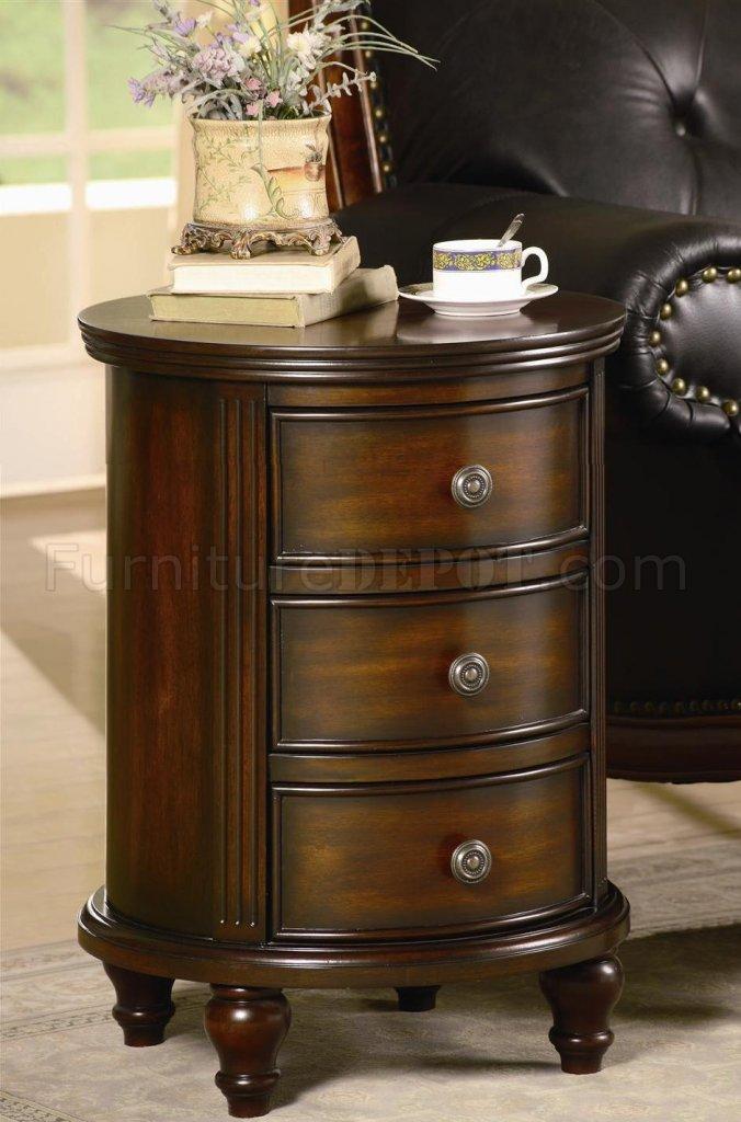 Antique Walnut Finish Small Round 3 Drawer Cabinet
