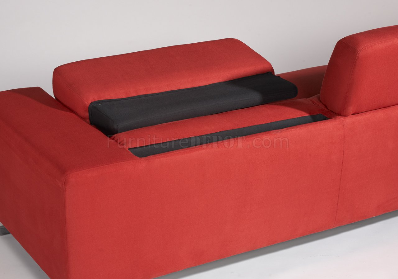 red microfiber reclining sofa leather sofas made in usa modern and loveseat set w metal legs