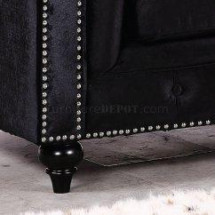 Chesterfield Sofa Black Velvet Alan White And Loveseat 662bl In Fabric W Optional