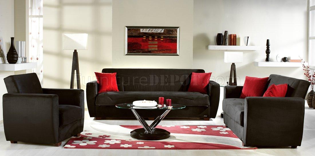 microfiber living room furniture modern art for walls miami rainbow storage sleeper sofa in black by sunset elegant with