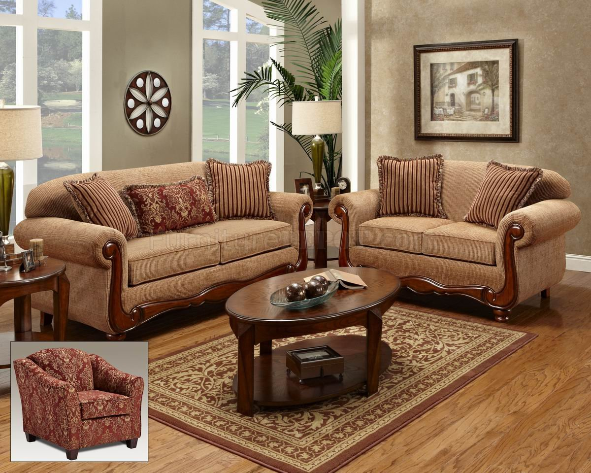 Beige Fabric Traditional Loveseat  Sofa Set wOptions