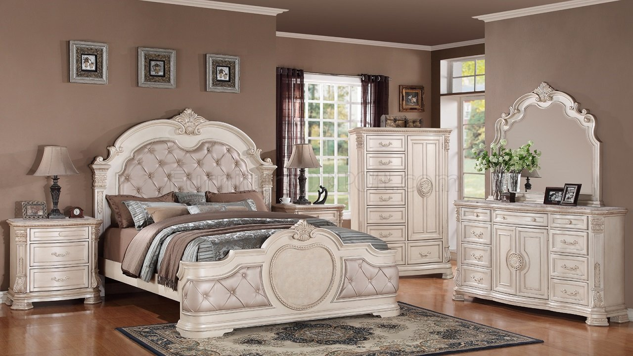 Infinity Traditional 5Pc Bedroom Set in Antique White wOptions