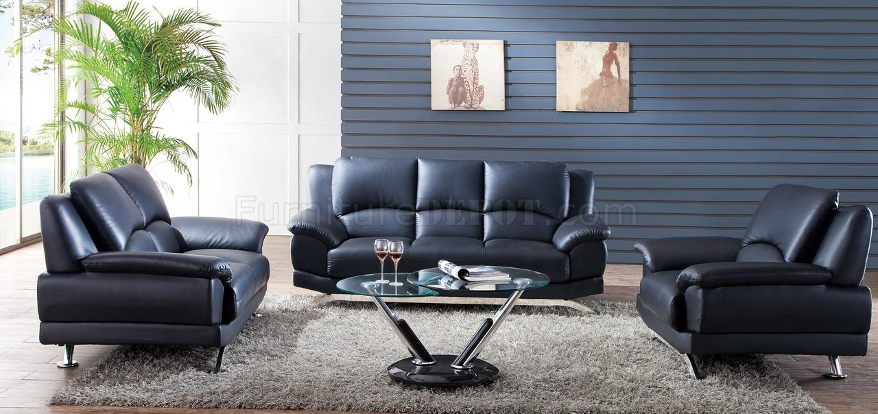 S990B Sofa In Black Leather By Pantek WOptions