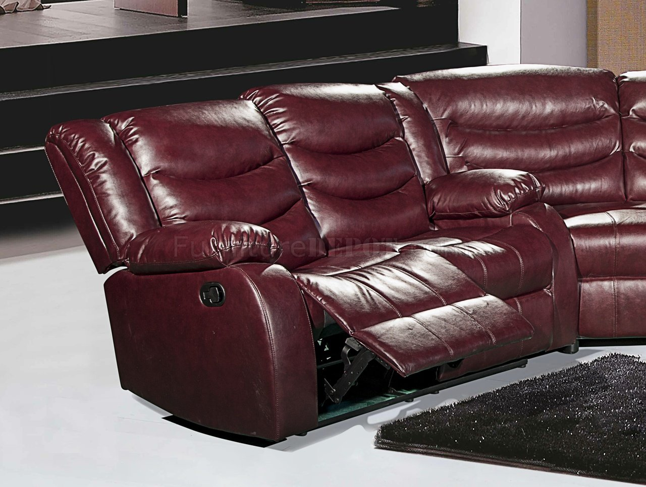 l shaped modern sofa intex inflatable review gramercy 644 motion sectional in burgundy bonded leather