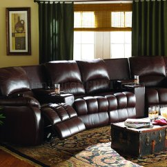 Home Theatre Sectional Sofas Sofa Factory Sydney Brown Leatherette Theater W Motorized Recliners