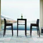 Black Modern Patio Bar Table 2 Bar Stools Set