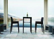 Black Modern Patio Bar Table & 2 Stools Set