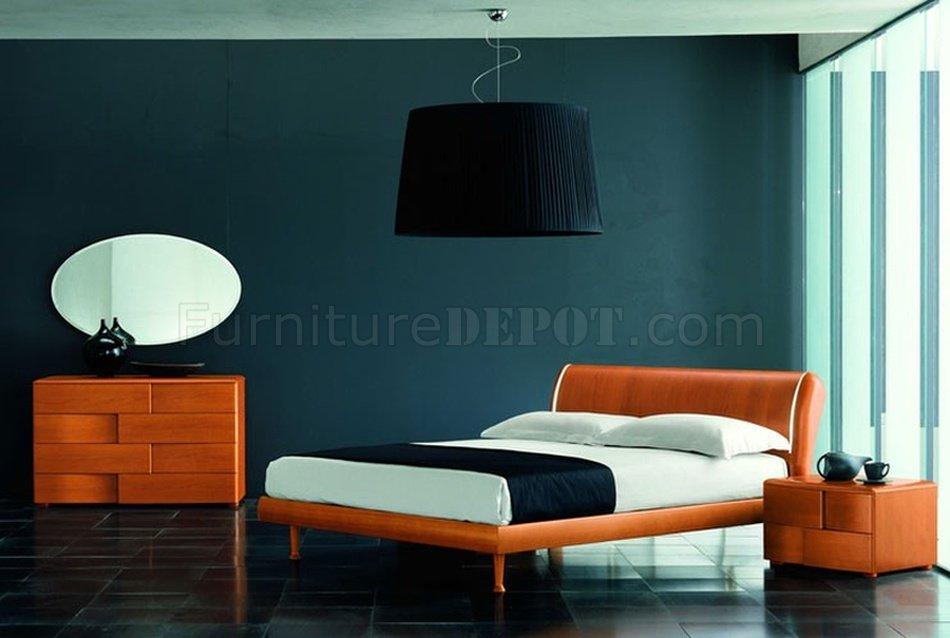 modern bedroom set trendy cherry finish
