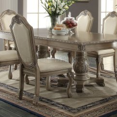 White Dining Room Table And 6 Chairs Springs For Chateau De Ville By Acme