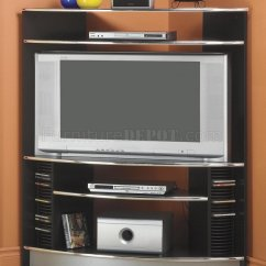 3 Piece Black Leather Living Room Set Display Shelves Modern Corner Entertainment Center W/chrome Accents