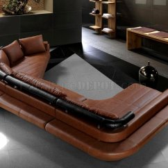 Brown Leather Sofa On Legs Charcoal Grey Jupiter Modern Sectional W Chrome