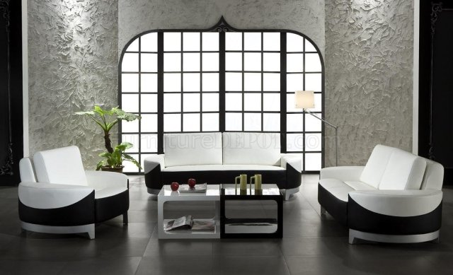 White and Black Leather 3 Piece Modern Living Room Set 0893