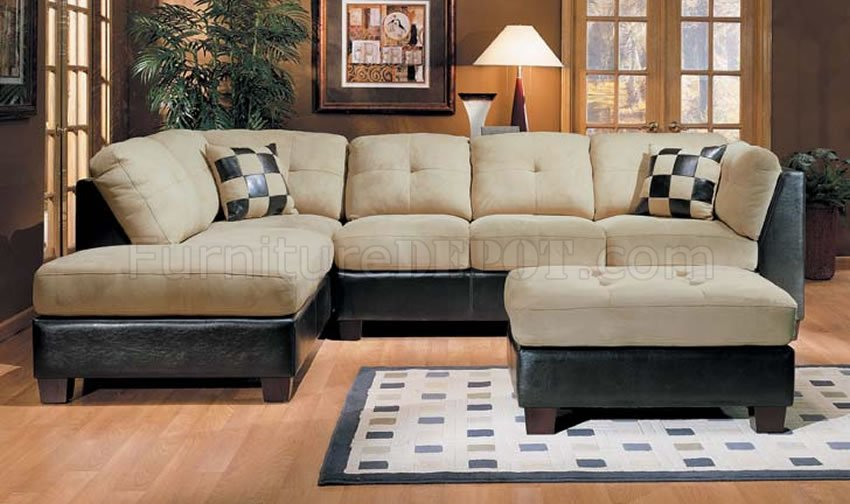 leather two tone sectional sofa