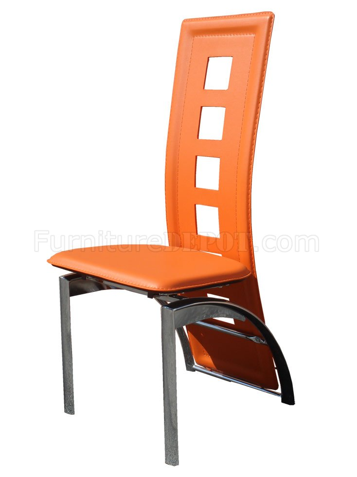 black dining room chairs with chrome legs professor chair restoration hardware set of 4 orange bicast contemporary w