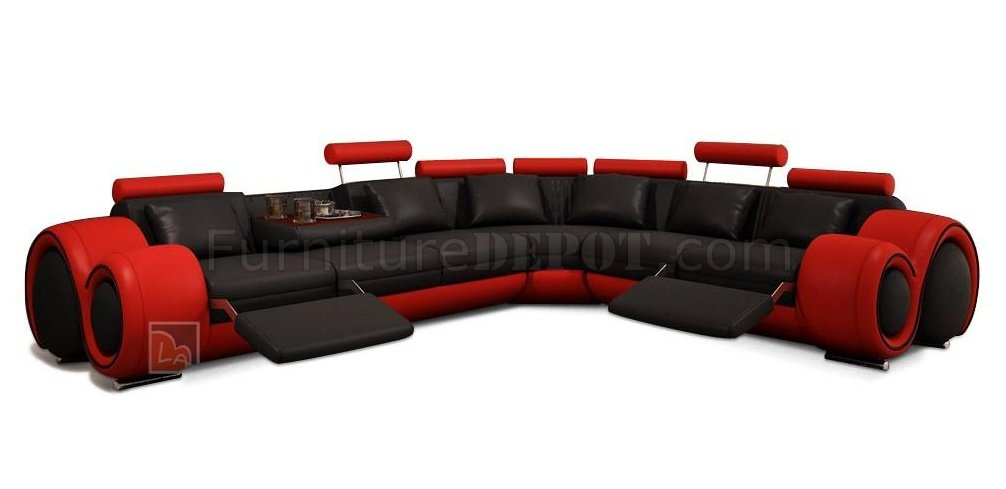 black and red leather sofa dallas dining set 4087 sectional in bonded by vig