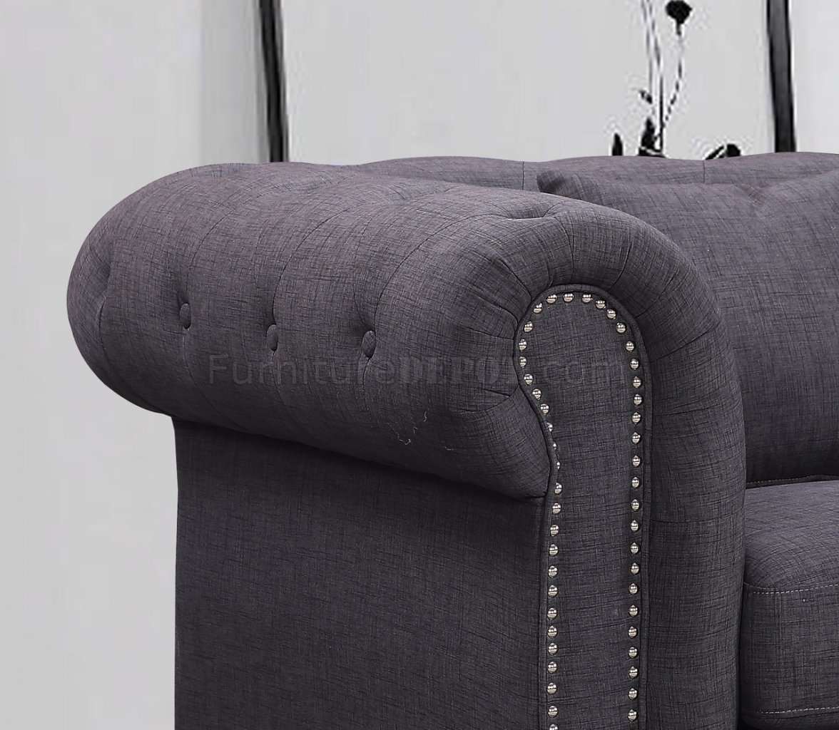 gray linen chesterfield sofa clearance warehouse 662gry in grey fabric w optional items