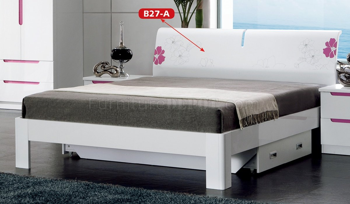 B27A Bedroom In White Amp Pink High Gloss By Pantek WOptions