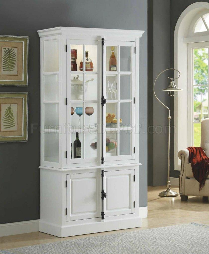 Iovius Locking Curio Cabinet 90300 in White by Acme