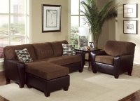 Two-Tone Brown Contemporary Living Room w/Cushioned Seats