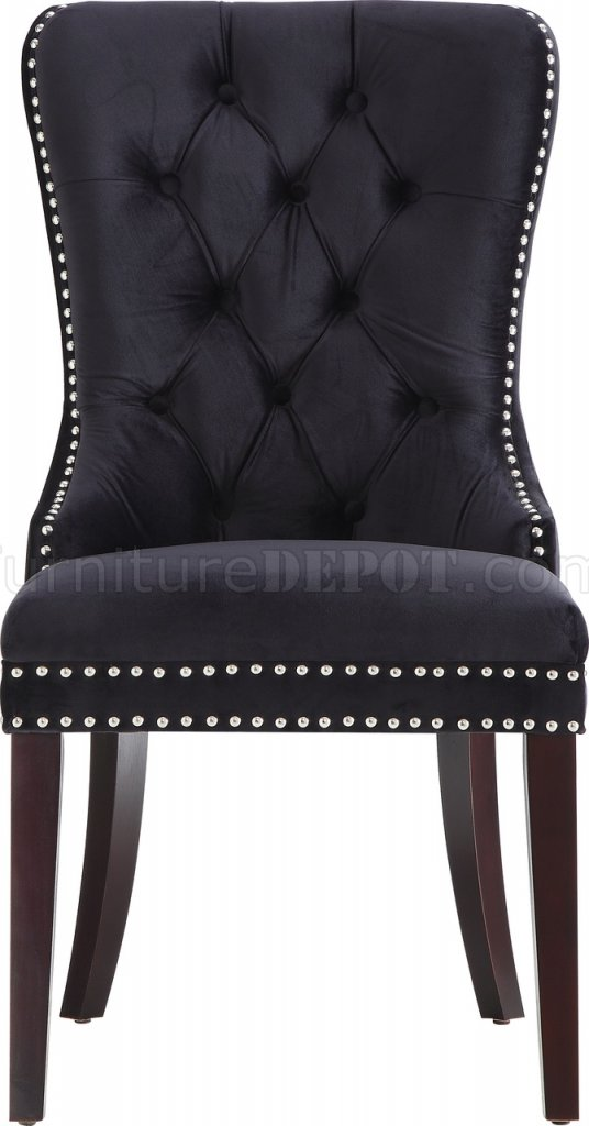 Nikki Dining Chair 740 Set of 2 Black Velvet Fabric by