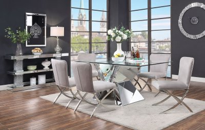 Noralie Dining Table 71280 in Mirror by Acme wOptions
