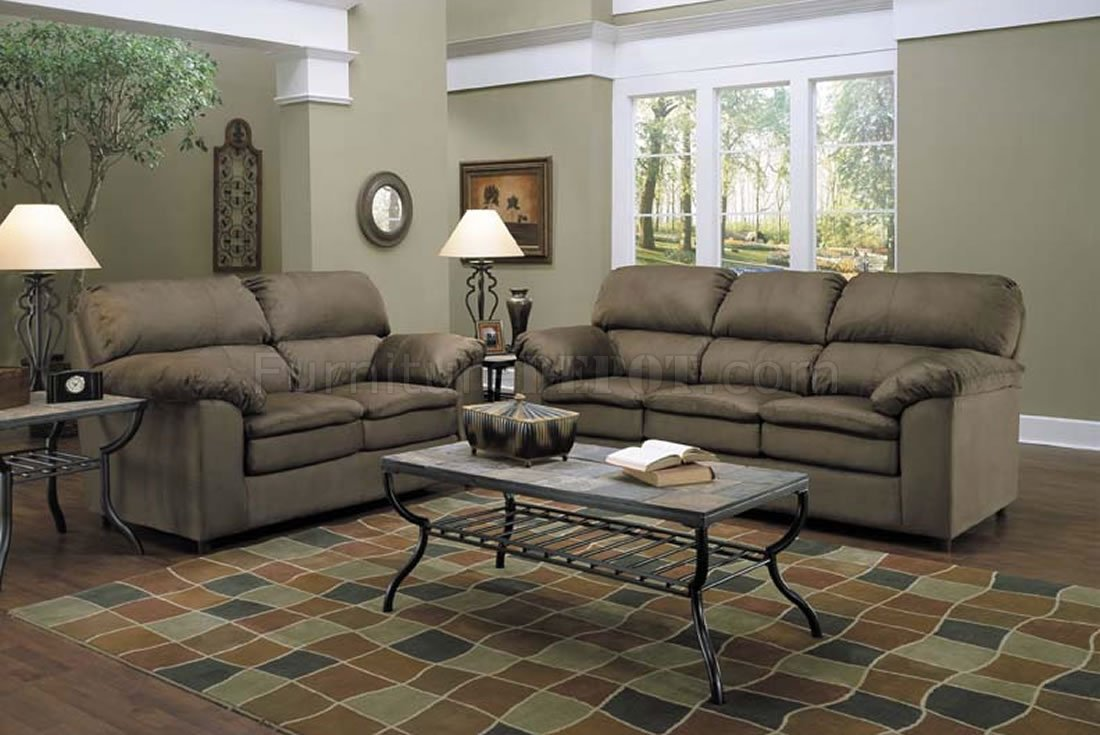 Fern Micro Suede Sofa Loveseat Contemporary Living Room Set