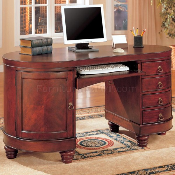 Deep Brown Cherry Finish Kidney Shaped Classic Home Office