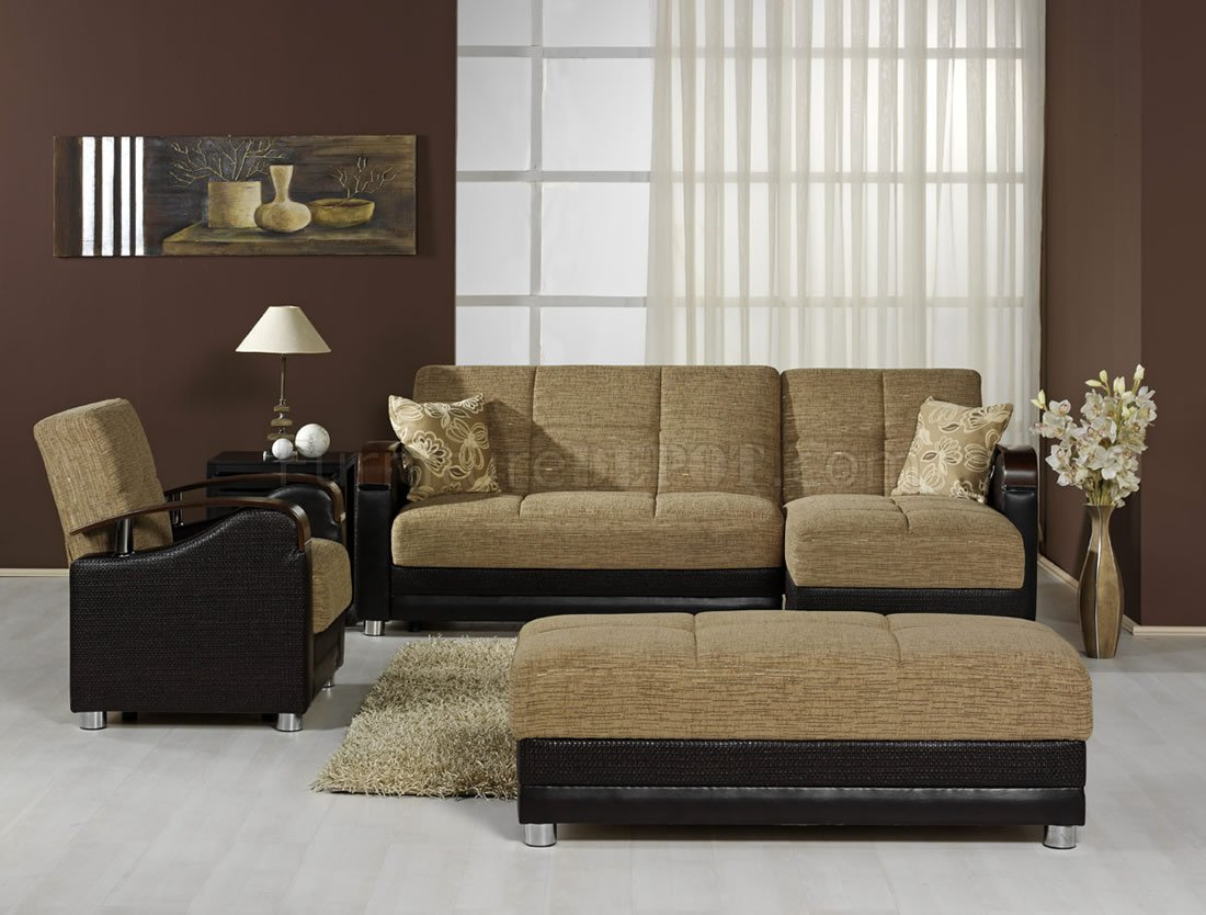 Modern TwoTone Living Room wMultifunction Sectional Sofa Bed