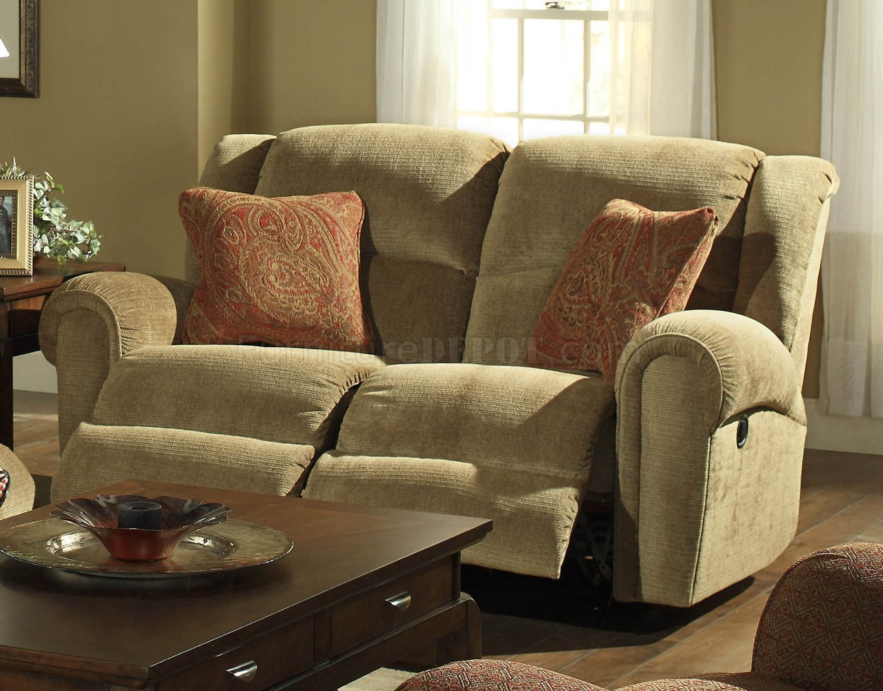 fabric sectional sofa with recliner bradington young leather recliners sofas beige suede traditional