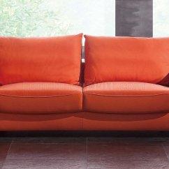 Modern Sofa Chair White Wood Orange Top Grain Leather W Optional
