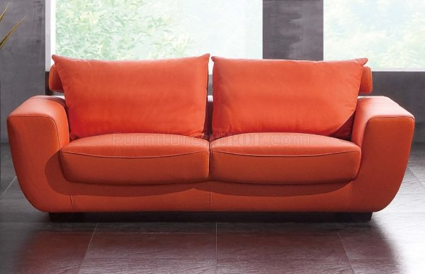 Orange Modern Leather Sofa