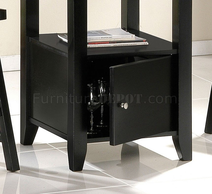 Black Finish Contemporary Counter Height Dinette WStorage Table