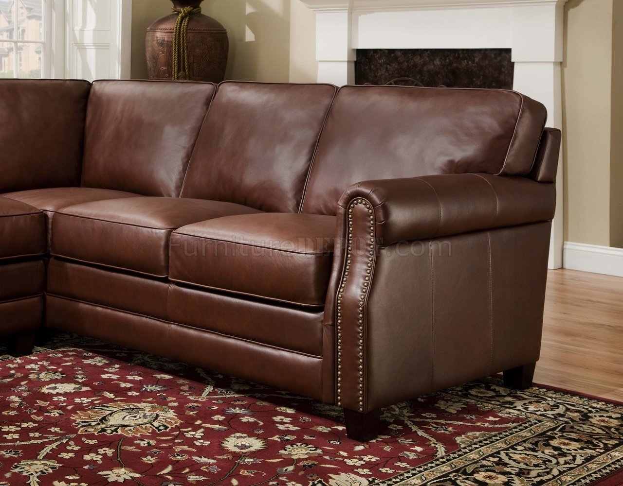 traditional leather sectional sofas bernhardt sofa with chaise cocoa brown top grain italian