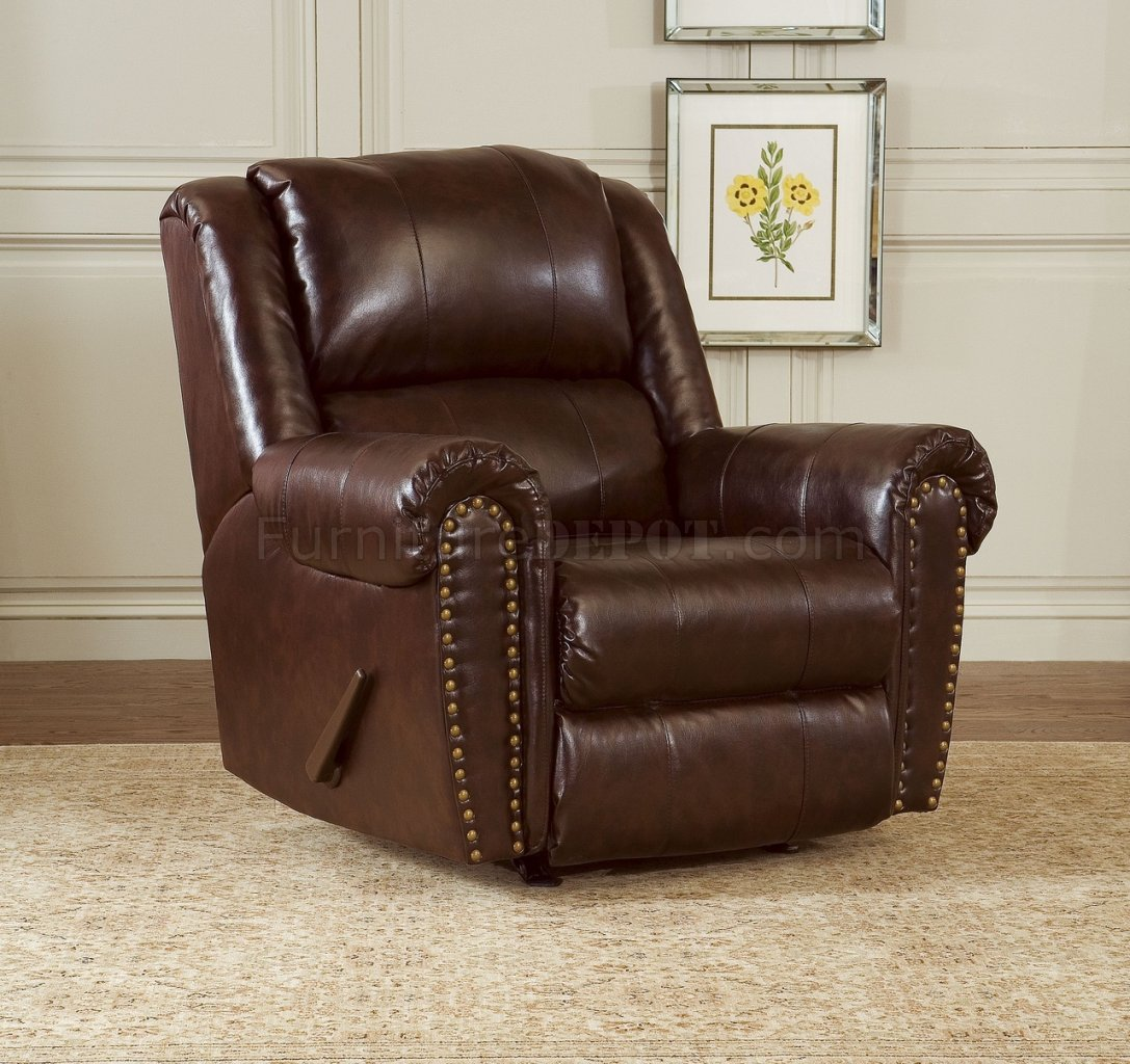 leather couch and chair overstock office chairs cognac brown bonded sofa set w reclining seats