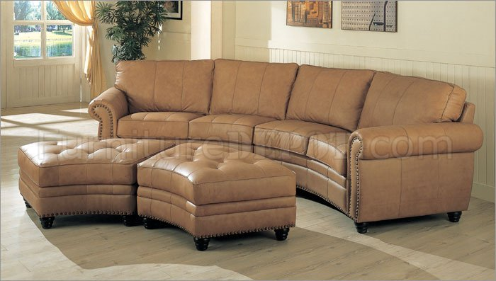 camel leather sectional sofa ottoman