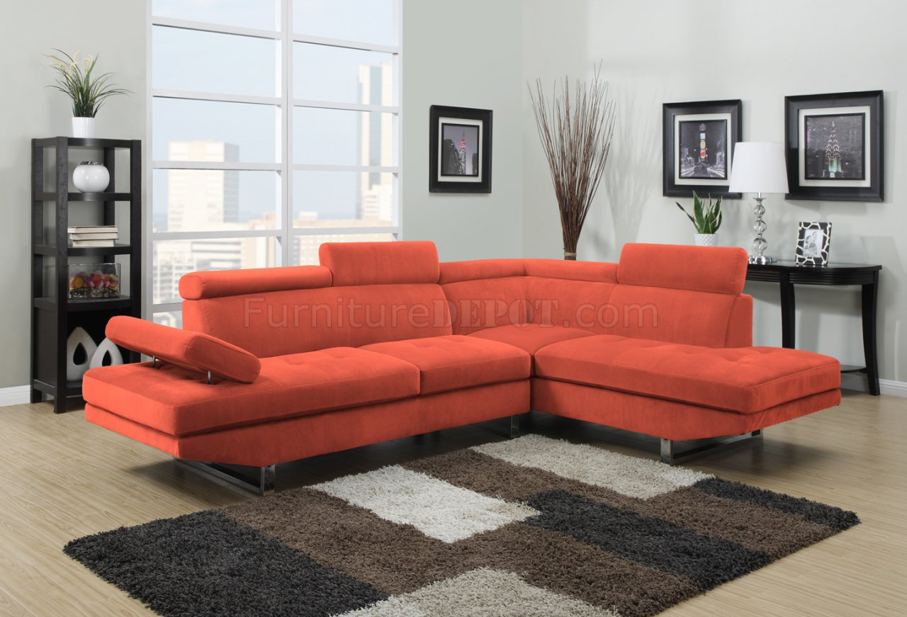 orange fabric sectional sofa how to restuff leather cushions 4017 in