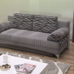 Sofa Microfiber Fabric Wood And Leather Daisy Bed Convertible In Grey By Empire