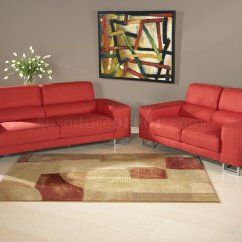 Red Microfiber Sofa Transitional Modern And Loveseat Set W Metal Legs