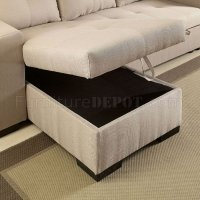 Denton Sectional Sofa CM6149IV in Ivory Fabric w/Sleeper